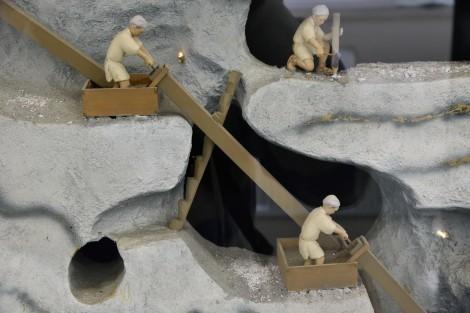生野銀山 鉱山資料館 江戸時代の採掘の様子